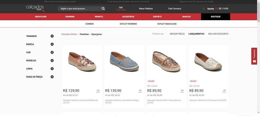 Código Promocional Calçados Online