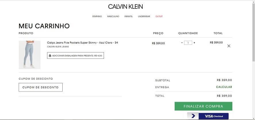 Cupom de desconto Calvin Klein